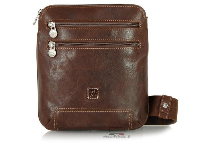Crossbag shoulder bag for tablet 8.9'' in italian vegetable leather Brown/Chestnut