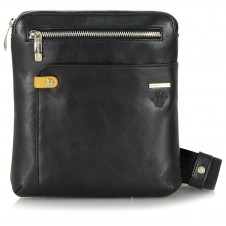 Men's Bag Crossbody shoulder bag in Vegetable leather Black 8""