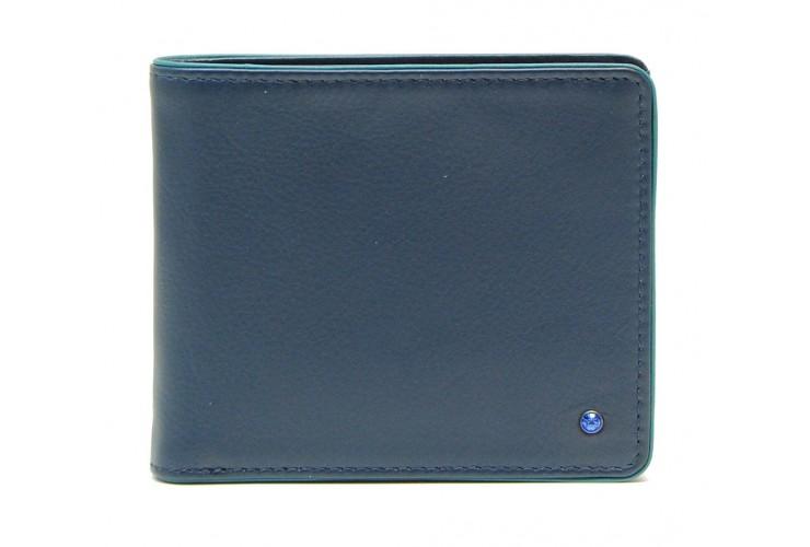 Portafoglio uomo piccolo in pelle con portamonete Blu