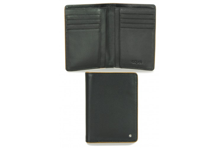 Portafoglio uomo elegante verticale in pelle 8cc Nero/Cognac