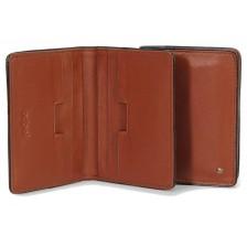 Porta carte di credito elegante, 6 tasche, in pelle 10.6cm Cognac