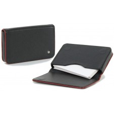 Stylish business / visit card sleeve, magnetic box, with strass 10cm Black/Bordeaux