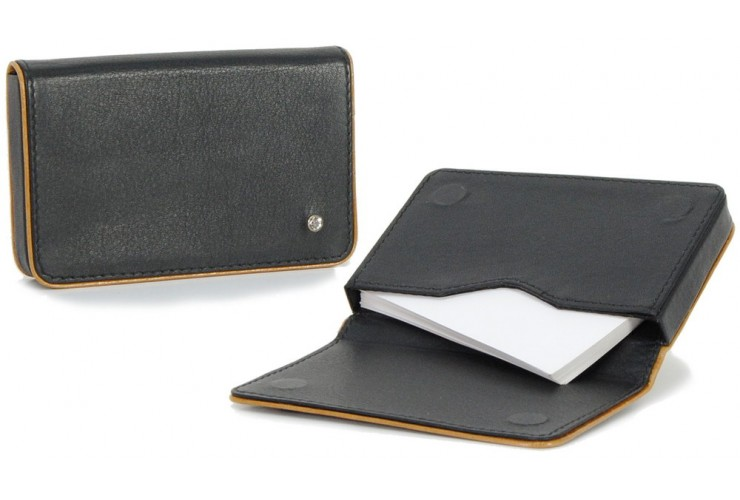 Stylish business / visit card sleeve, magnetic box, with strass 10cm Black/Cognac