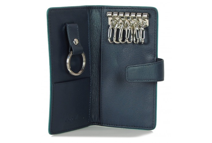 Leather folding key case wallet with 6 hooks Blue