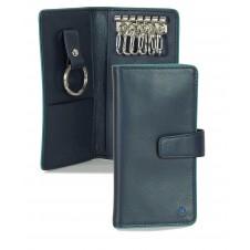Leather folding key case wallet with 6 hooks Blue