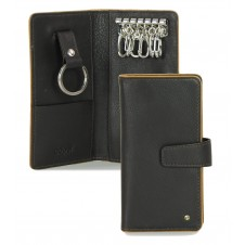 Leather folding key case wallet with 6 hooks Brown
