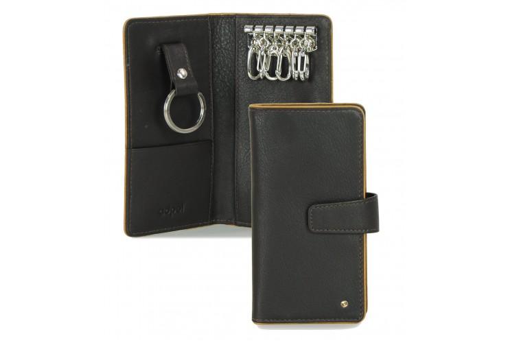 Schlüsselmappe mit 6 schlüsselhaken aus Leder 16cm Braun