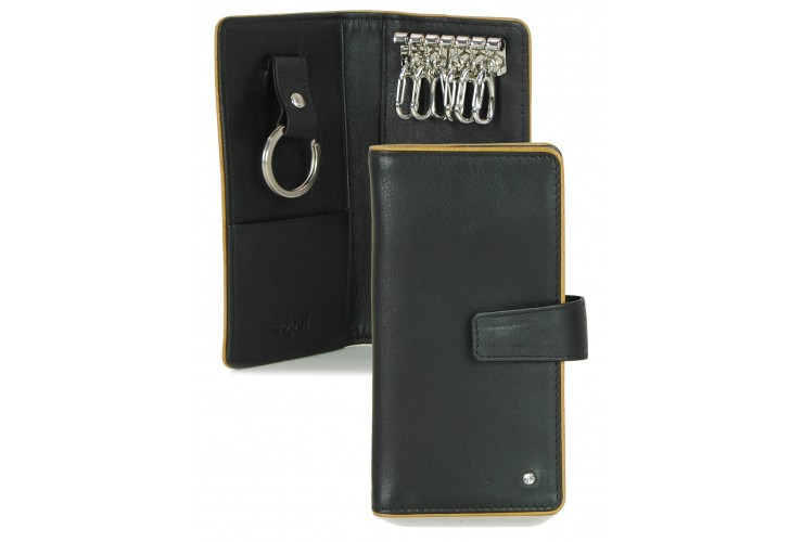Leather folding key case wallet with 6 hooks black/cognac