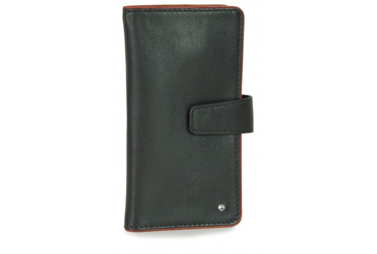 Leather folding key case wallet with 6 hooks black/bordeaux