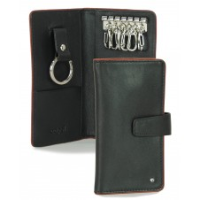 Leather folding key case wallet with 6 hooks black/bordeaux