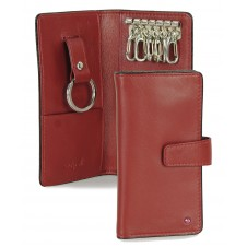 Leather folding key case wallet with 6 hooks Burgundy