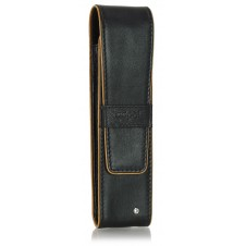 Stylish leather pen sleeve, 2 places, with strass black/cognac