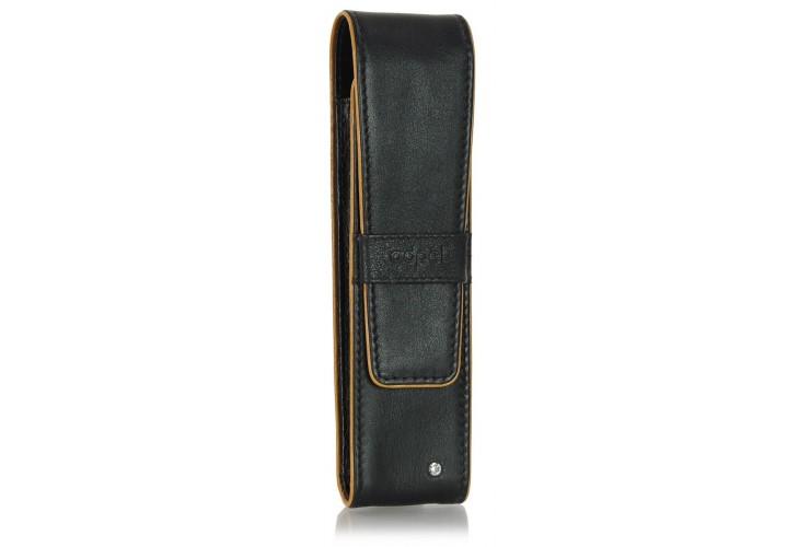 Etui für 2 Schreibgeräte stilvolle aus leder schwarz/cognac