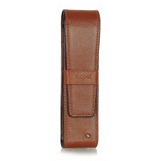 Stylish leather pen sleeve, 2 places, with strass Cognac