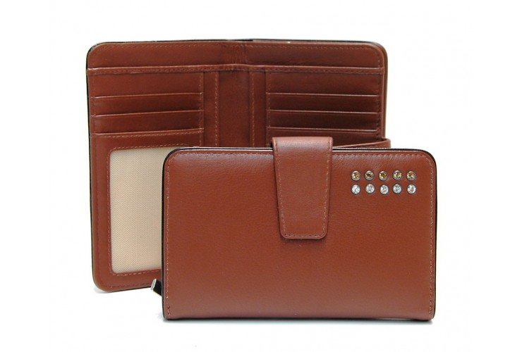 Women's wallet with zip 8cc in leather with strass Cognac
