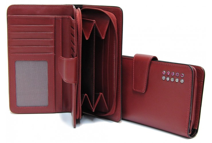 Women's wallet with zip 10cc in leather with strass, Burgundy