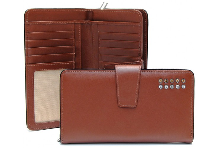 Women's wallet with zip 10cc in leather with strass, Cognac