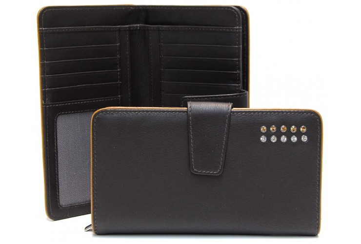 Women's wallet with zip 10cc in leather with strass, Brown