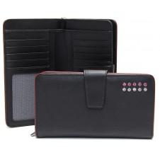 Portafoglio donna elegante zip 10cc in pelle Nero/Bordo