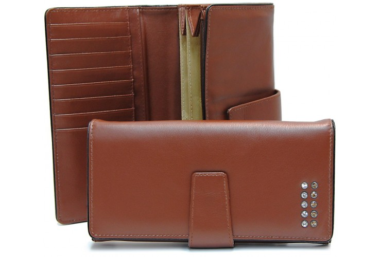 Women's wallet with 4 gussets in leather with strass, Cognac