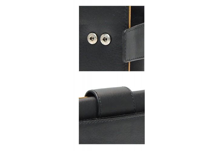 Portafoglio donna elegante a soffietto in pelle Nero/Cognac