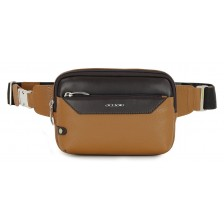 Cross body Bum bag in leather for Tablet up to 7'' Brown