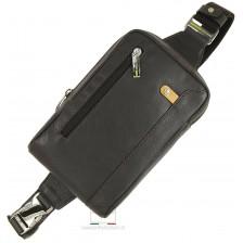 Monospalla Marsupio in pelle, tasca Tablet 8'' Marrone/Moka