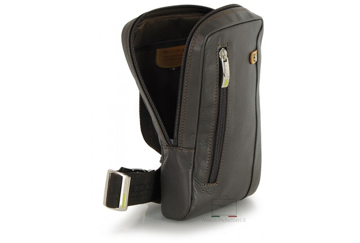 Cross body Bum bag in leather for Tablet up to 8'' Brown/Moka