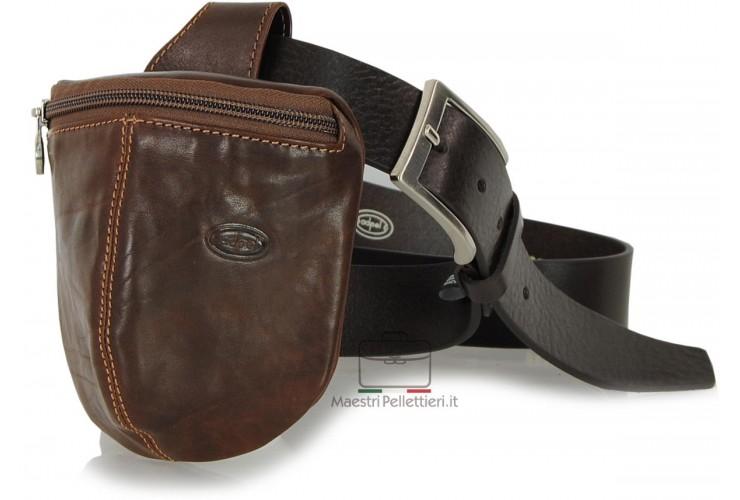 Marsupio da cintura Borsello Tasca in pelle Toscana 13cm Marrone/Castagno