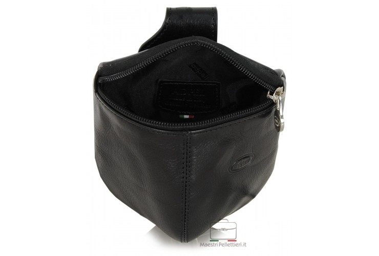 Pouch belt bag, Waist bag for belt in vegetable leather 13cm - Black