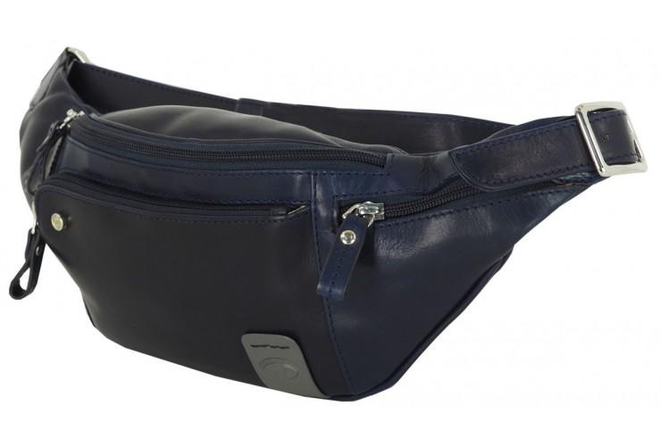 Gürteltasche aus weichem leder, Smartphone-fäche 6.5'' Blau