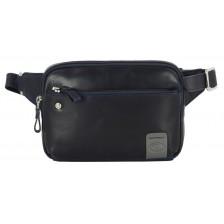 Marsupio in pelle, tasca Tablet 7'' Blu - Charles
