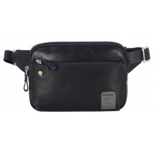 Cross body Bum bag in leather for Tablet up to 7'' Blue- Charles