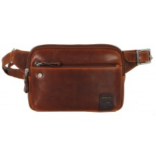 Cross body Bum bag in leather for Tablet up to 7'' Brown - Charles