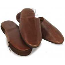 Travel Slippers in italian vegetable leather - Brown/Chestnut