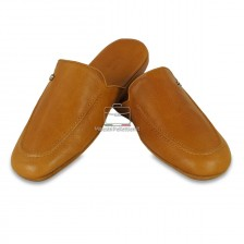 Pantofole uomo in pelle Toscana Vegetale Cuoio/Miele