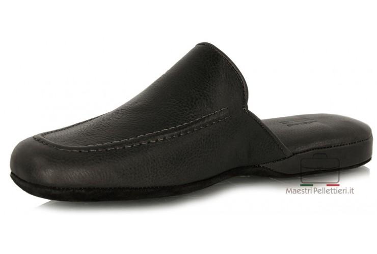Pantofole uomo comode in pelle morbida Nero