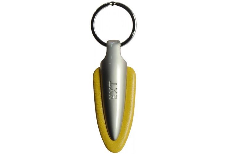 Schlüsselanhänger aus Leder und Metall Design dart Gelb