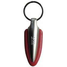 Portachiavi in nappa colorata e metallo Dardo, 1 anello Rosso