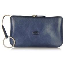 Portachiavi pelle zip portamonete pochette Blu