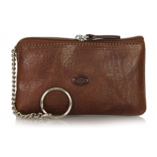 Portachiavi pelle zip portamonete pochette Marrone