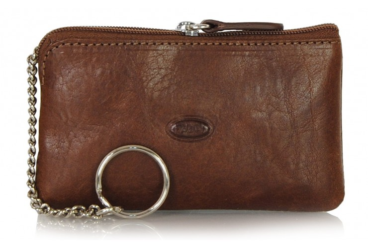 Key pouch with zip coin purse leather Brown