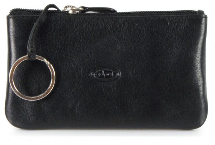 Portachiavi pelle zip portamonete pochette Nero