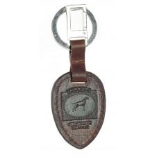 Portachiavi in pelle colore Marrone con anello e moschettone in metallo