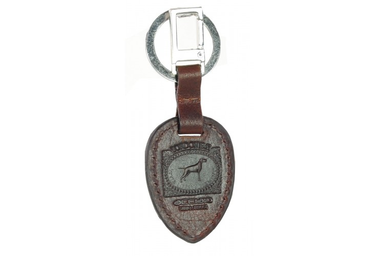 Brown leather keychain with metal ring and snap hook