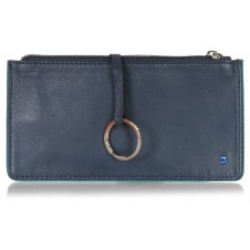 Leather long keys wallet and coin pouch with zip blue