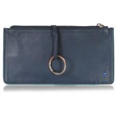 Portachiavi portamonete zip in pelle, chiave lunga blindata blu