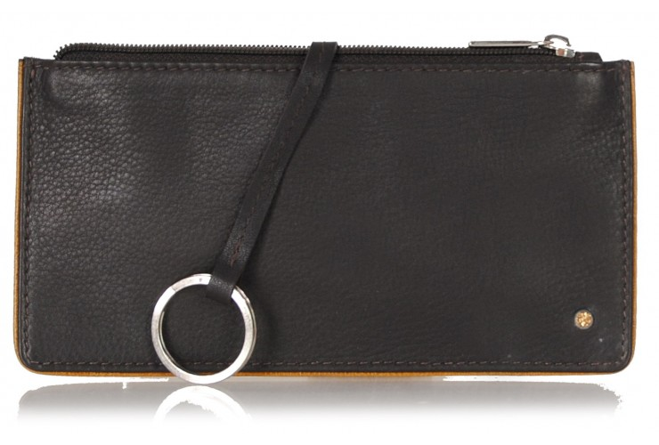 Leather long keys wallet and coin pouch with zip brown