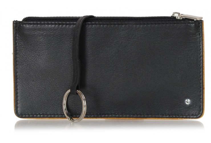Leather long keys wallet and coin pouch with zip black/cognac