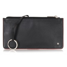 Leather long keys wallet and coin pouch with zip black/burgundy